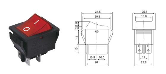 Переключатель SС 767 (4) (красный)