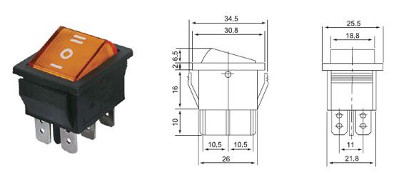 Переключатель влагостойкий (6-ти контактный) 16А, on-off-on, красный с нейтралью