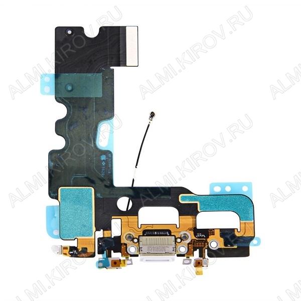 Шлейф для iPhone 7 + разъем зарядки + разъем гарнитуры + микрофон белый