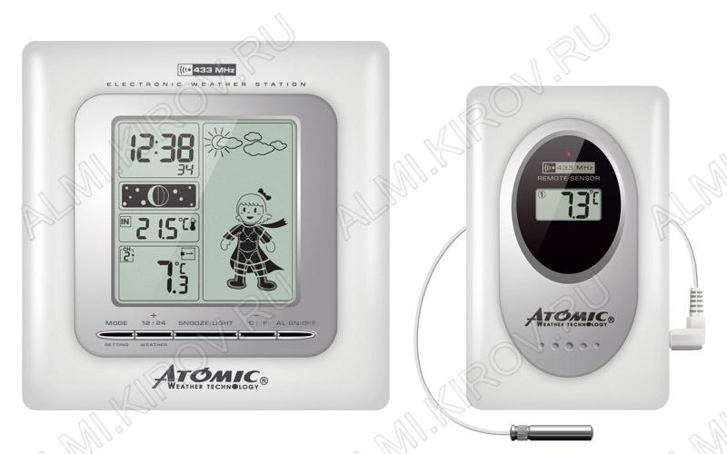 Метеостанция Atomic W839009 White Измерение: наружной и внутр. температуры, календарь, часы,  анимированный прогноз погоды на 24ч; питание 2хR6 радиодатчика 2хR3