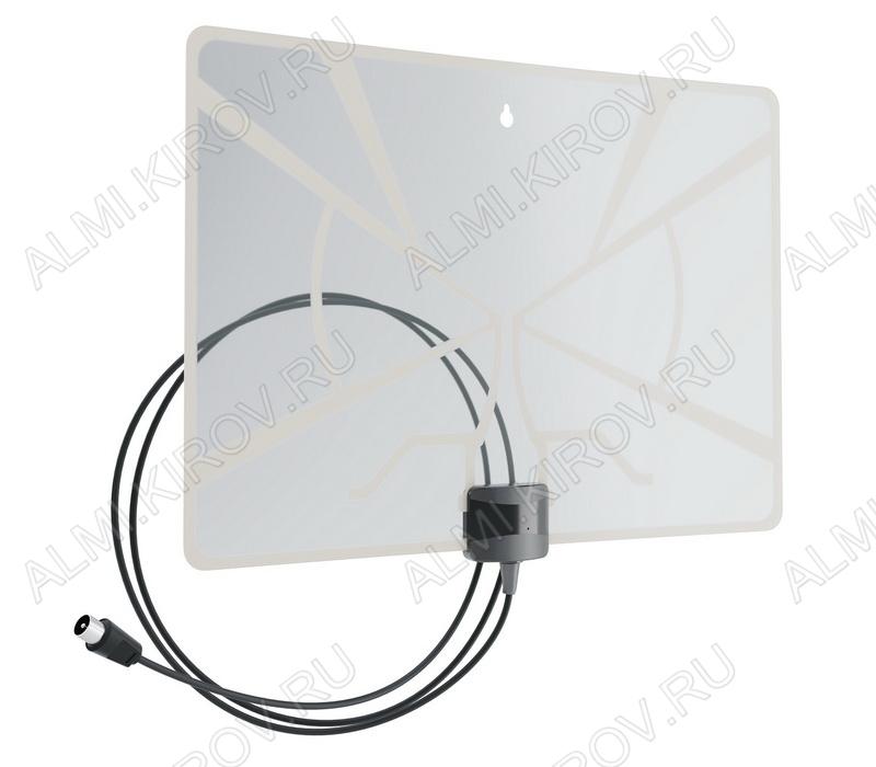 Антенна комнатная BAS-5324-5V активная ДМВ/DVB-T; 33dB; питание 5V от ресивера, с кабелем 2м