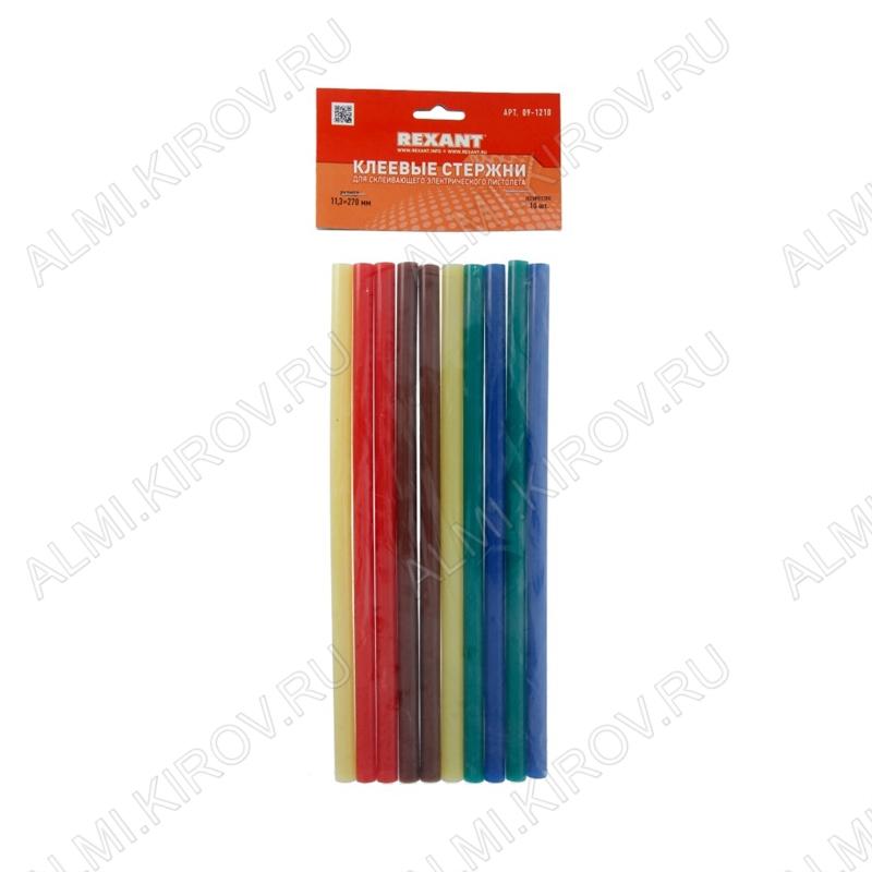 Термоклей d=11мм цветной (набор 10шт) (09-1210) длина 270мм