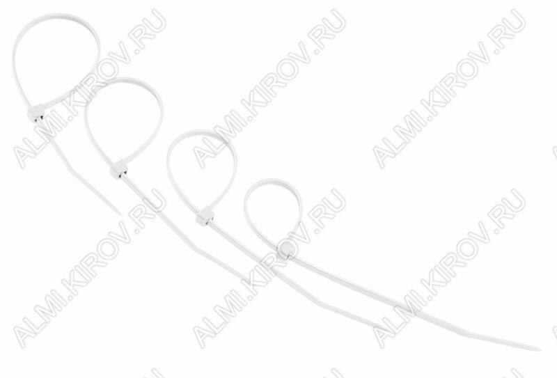 Стяжка кабельная 150*3,6 мм белая (100шт)