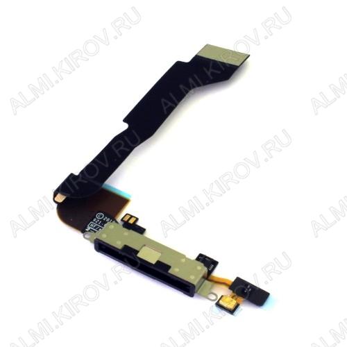 Шлейф для iPhone 4S + разъем зарядки + микрофон черный