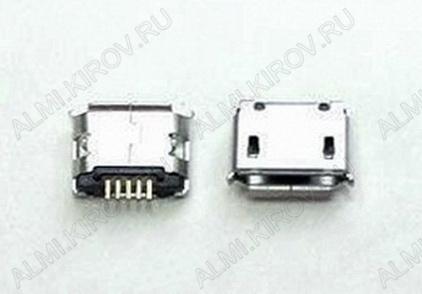 Разъем (385) MICRO USB 5pin гнездо на плату нижнее крепление, 2крепежа в плату, long pin