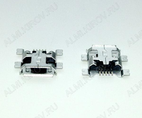 Разъем (388) MICRO USB 5pin гнездо на плату (5SA2) среднее широкое крепление