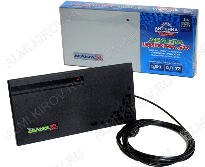 Антенна комнатная Дельта ЦИФРА.5V активная ДМВ/DVB-T; 22dB; питание 5V от ресивера, без блока питания, с кабелем
