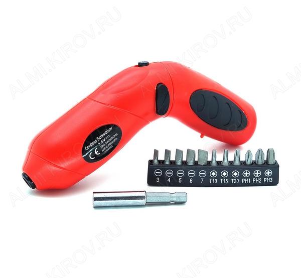 Электроотвертка 3,6В, Ni-Cd, 3Нм, 180 об/мин JY-CS003 в комплекте: биты (11 шт.), магнитный держатель бит (4 см), сетевое ЗУ