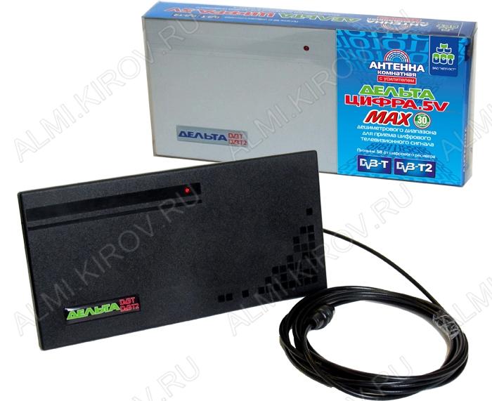 Антенна комнатная Дельта ЦИФРА.5V MAX активная ДМВ/DVB-T; 30dB; питание 5V от ресивера, без блока питания, с кабелем