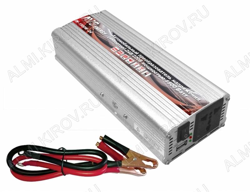 Блок питания DC/AC 24V/220V 1500Вт IN-1500W-24 50Гц (модифицированный синус) автомобильный инвертор