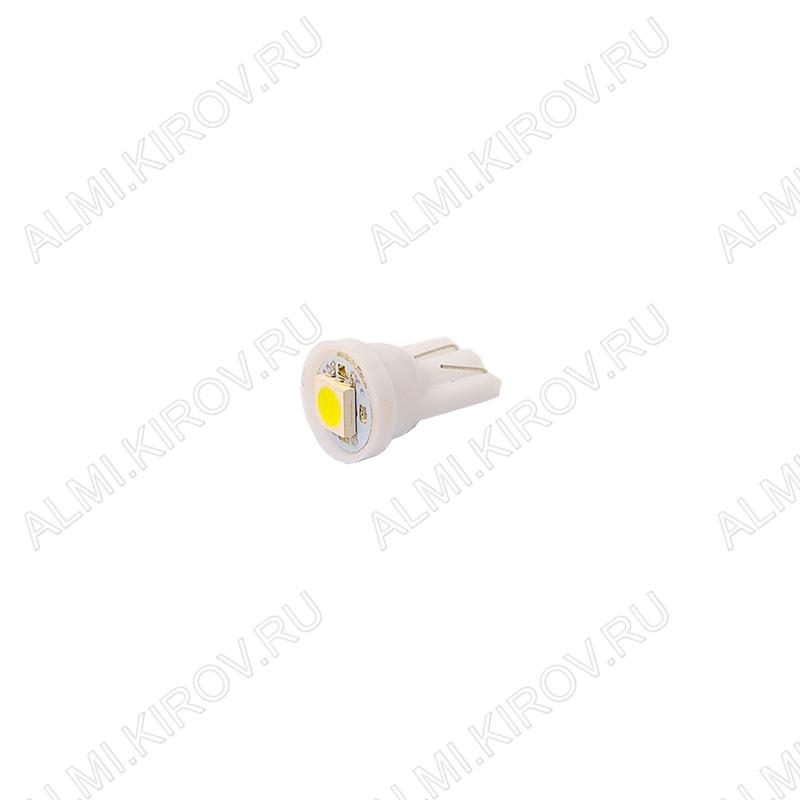 Лампа светодиодная (A1)T10 W2.1x9.5d 12V (цвет белый) автомобильная 1LED(5060); 12V; 5500-6500K
