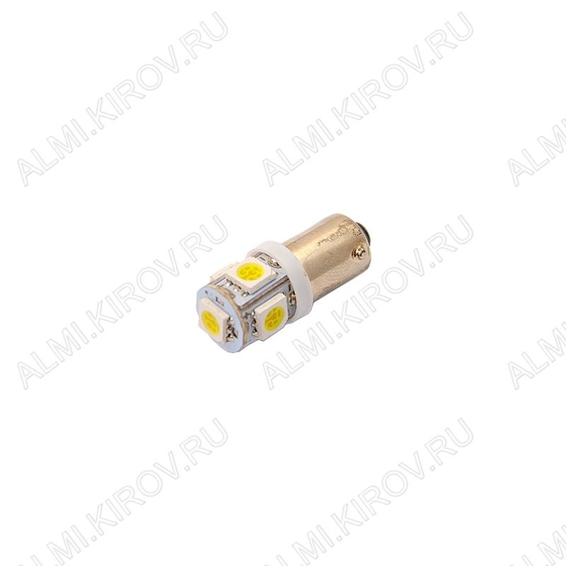Лампа светодиодная (A10)T8 BA9S 12V (цвет белый) автомобильная 5LED(5060); 12V; 5500-6500K, фланец