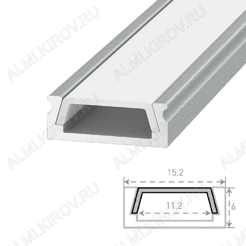 Профиль накладной SF-1506 (000984)  для LED-ленты шириной до 11мм размеры: 2000*15*6мм; комплект: профиль, экран, 2 заглушки, 4 скобы; крепеж