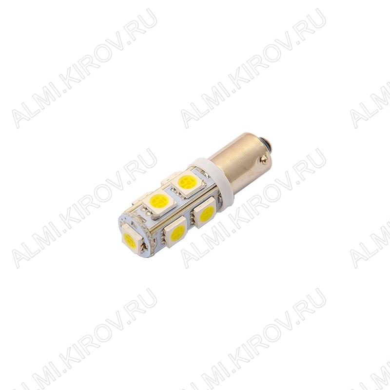 Лампа светодиодная (A18)T8 BA9S 12V (цвет белый) автомобильная 9LED(5060); 12V; 5500-6500K, фланец
