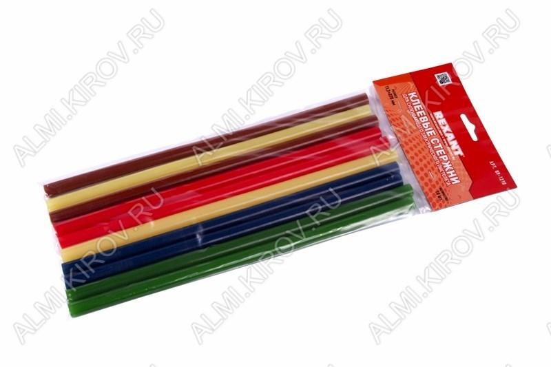 Термоклей d=7мм цветной (набор 12шт) (09-1020)