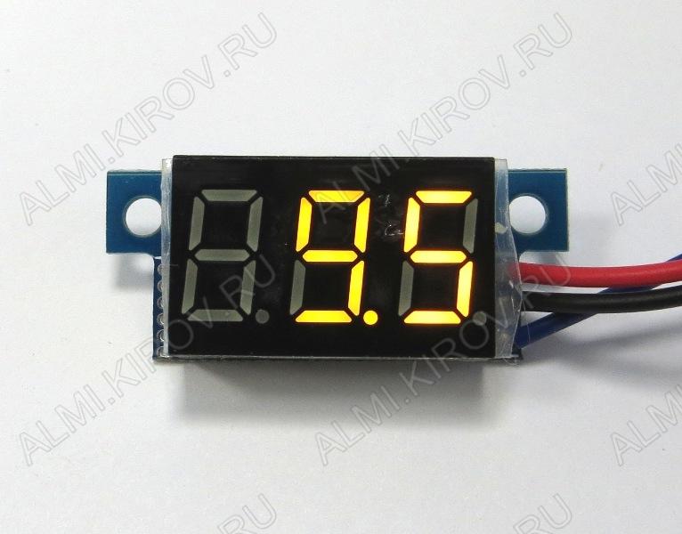 Радиоконструктор Вольтметр цифровой 2,5...30В RI026 встраиваемый (жёлтый) Модуль вольтметра предназначен для встраивания в приборную панель. Модуль питается от измеряемого напряжения.