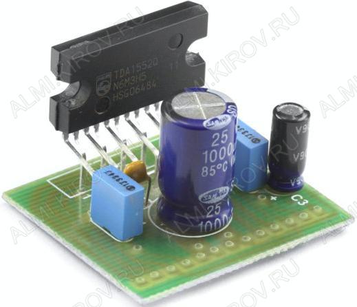 Радиоконструктор Усилитель 2х40Вт RS209С (на TDA8563 при 2 Ом) защиты от неправильного подключения источника питания, короткого замыкания на выходе, перегрузок, перегрева, для применения 12-ти вольтового питания.