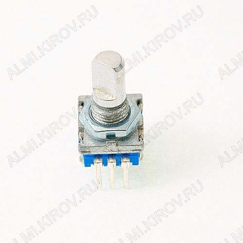 Энкодер а/м 5 pin с кнопкой (22) (R12) Вал 16 мм, металл, лыска, крепеж п/гайку