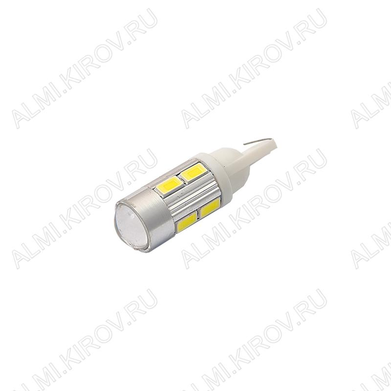 Лампа светодиодная (A23)T10 12V (цвет белый) автомобильная 10LED(5630); 12V; 5500-6500K