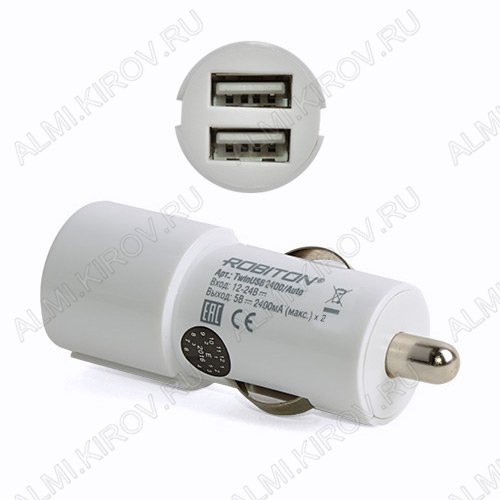 Адаптер DC/DC 12V/5V TwinUSB2400/AUTO 2 USB-разъема по 2400 mA Блок питания/зарядное устройство для MP3/Flash плееров, Apple iPod, моб.телефонов, смартфонов