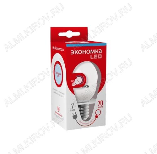 Лампа светодиодная 220В/  7,0Вт/ E27/ 6500К (холодный белый) (L348)/ 580lm (Eco_LED7wGL45E2765);