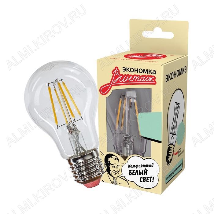 Лампа светодиодная 220В/  8,0Вт/ E27/ 4000К (дневной белый) (L373)/ 860lm (EcoLedFL8wA60E2745);