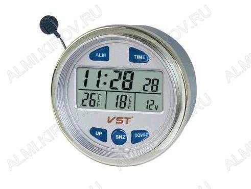 Часы автомобильные VST-7042V Дата, время, будильник, Температура: снаружи / внутри (от -50 до 70С), Вольтметр: 9-16V - питание от 12V, Питание часов от батарейки G13