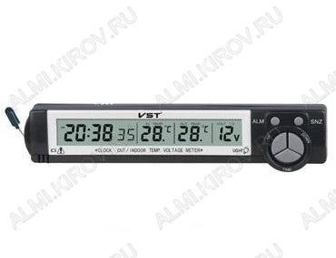 Часы автомобильные VST-7043V Дата, время, будильник, Температура: снаружи / внутри (от -50 до 70С), Вольтметр: 9-16V - питание от 12V, Питание часов от батарейки G13