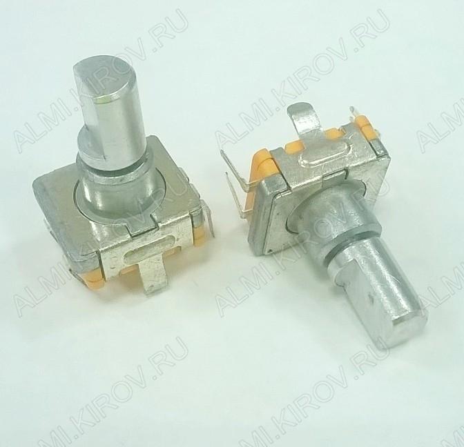 Энкодер а/м 5 pin с кнопкой (26) (RU2) (на удержание) Вал 14 мм, металл, лыска