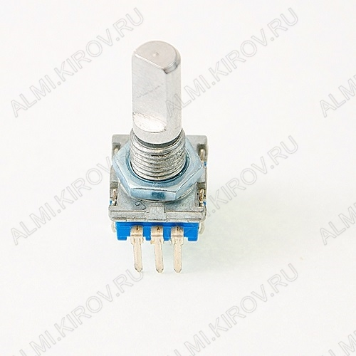 Энкодер а/м 5 pin с кнопкой (28) (R193) Вал 20 мм, металл, лыска, крепеж п/гайку