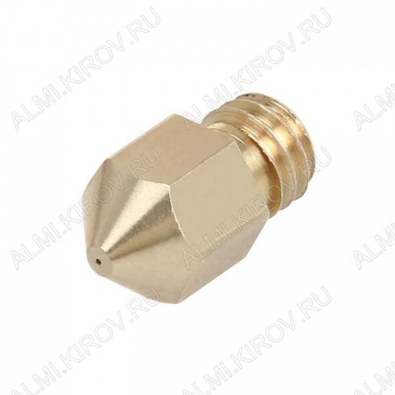 Стандартное сопло 0.3мм для хотэнда MK8, под пластик 1.75мм. Размер: 13х8мм; Внутренний диаметр: 2мм; Диаметр выходного отверстия: 0.3мм; Резьба: М6