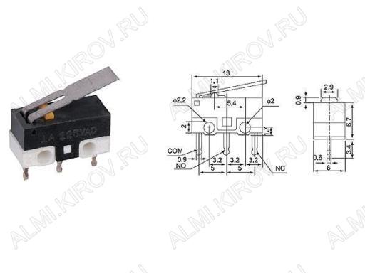 Переключатель RWA-102 пластина 1A/125V; 3 pin