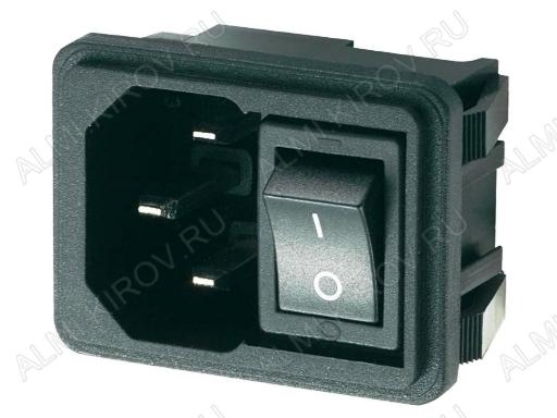 Разъем (4040) AC штекер на корпус с выключателем с защелками 250V; 10A