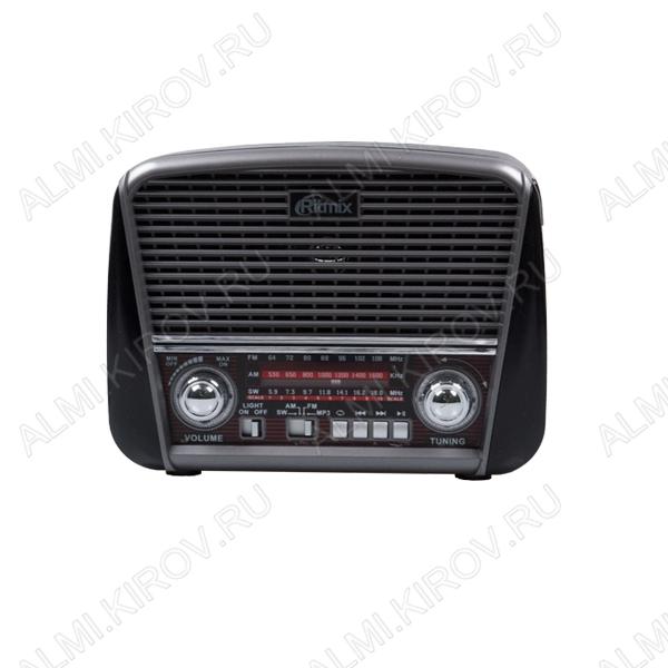 Радиоприемник RPR-065 GRAY УКВ 64,0-108.0МГц; разъем USB, SD; LED фонарь; Питание от 2xR20 или от сети 220В