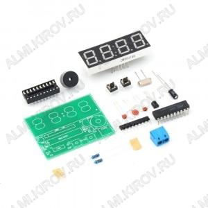 Радиоконструктор Электронные часы-будильник (4-битные электронные часы, встроена функция будильника) Печатная плата, со всеми необходимыми дорожками и обозначениями; 4-х разрядный 7 сегментный индикатор; Конденсаторы; и т.д.; Пит.5В.
