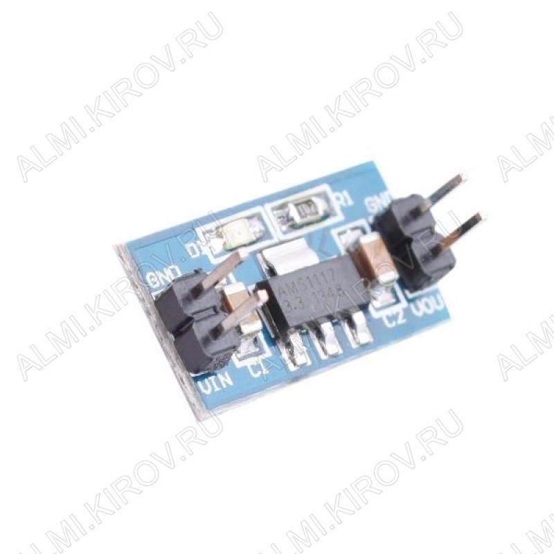 Радиоконструктор Стабилизатор напряжения линейный 3,3В (0,8А) Входное напряжение: 6,5...12 В; Выходное напряжение: 3.3 В; Максимальный выходной ток: 0,8 А; на микросхеме AMS1117-3.3