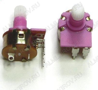 Потенциометр 500KB+выкл (пластик. ручка) №6