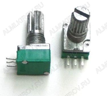 Потенциометр 10KB (3pin) №10  для радиостанций Металлический, вал 15 мм с накаткой и шлицем, линейная зависимость