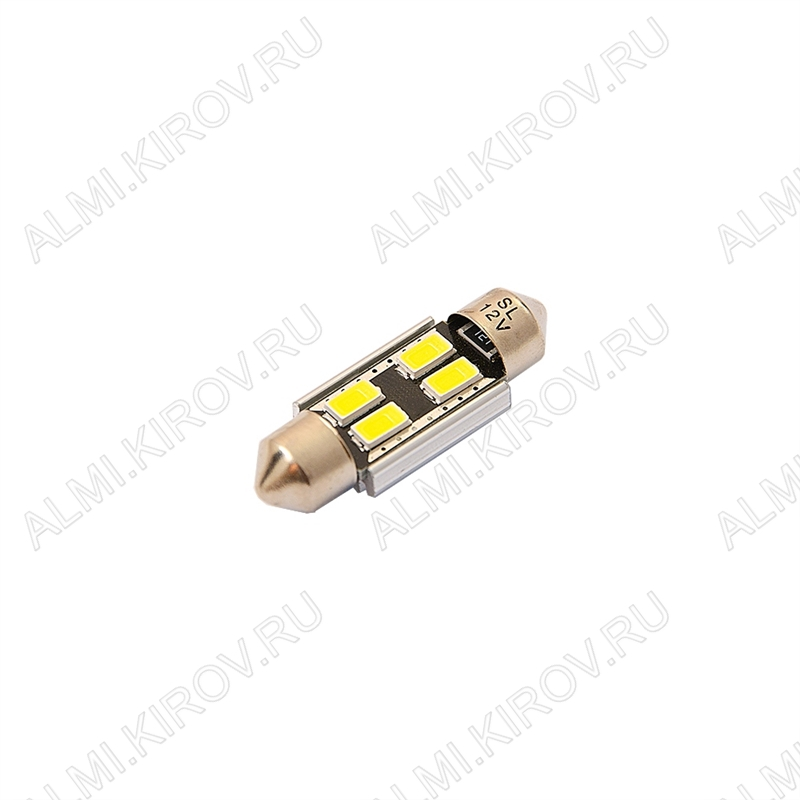 Лампа светодиодная (A35)T11x36 S8.5 12V (цвет белый) автомобильная