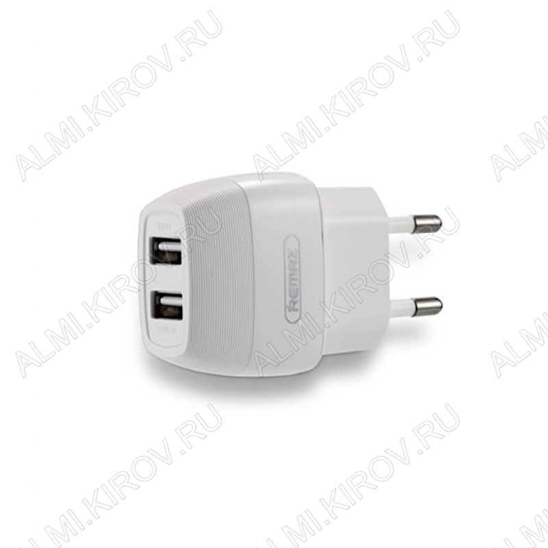 Сетевое зарядное устройство с выходом 2*USB, 2.1А, белое, RP-U29;
