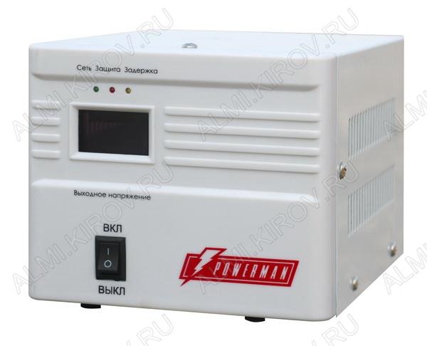 Стабилизатор напряжения AVS-1000A 1000ВА 1-фазный напольный Электронный; Uвх=160-260В; Uвых=220В+8%; высоковольт.защита 260+5В; время регулирования 5-7мс; подключение нагрузки 1 розетка