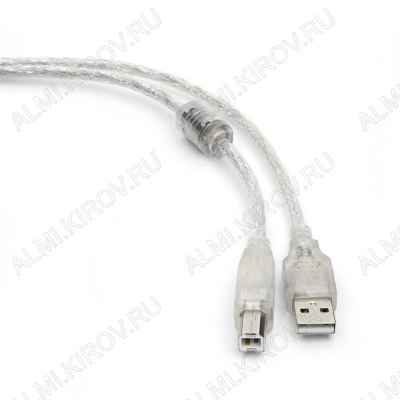 Шнур USB A шт/USB B шт 1.8м (CCF-USB2-AMBM-TR-6) экранированный, прозрачный силикон с ферритовым фильтром