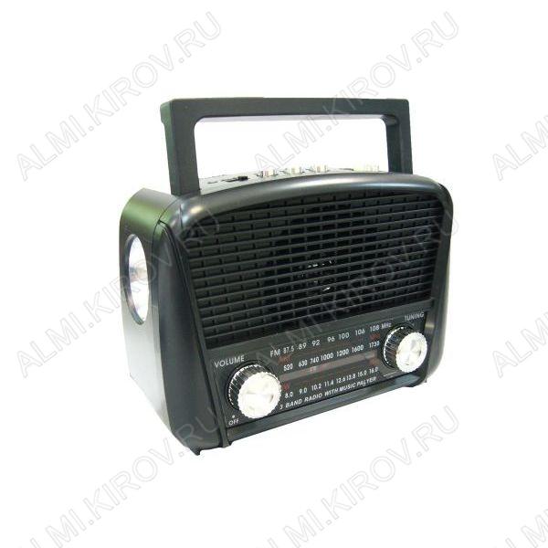 Радиоприемник HN-289UAT УКВ 88,0-108.0МГц; AM 530-1730 кГц; SW 8,0-16,0МГц; разъем USB, TF; Питание от акб. 2*18650 или от сети 220В