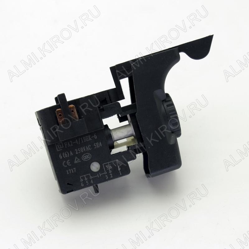 Выключатель для дрели Интерскол ДУ-1000 (A0127) FA2-4/1BEK-6 6A 250V