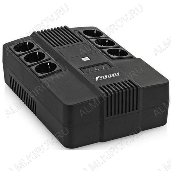 ИБП - UPS Brick 800, линейно-интерактивный, ступенчатая аппроксимация синусоиды 800BA/480Вт; АКБ 12В 9Ah -1шт.; Розетки 6шт.; Габариты упаковки 293х202х93мм.; Вес 5,2кг.