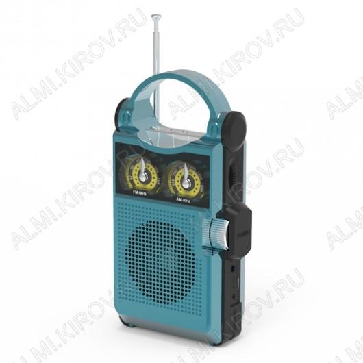 Радиоприемник RPR-333 BLUE УКВ 88,0-108.0МГц; разъем USB, microSD; Питание от аккумулятора