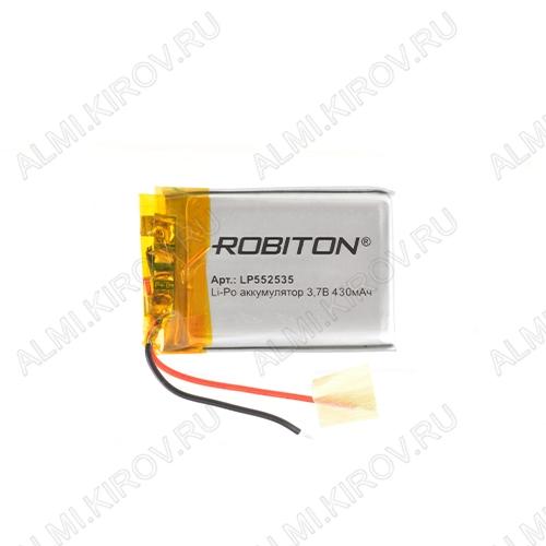 Аккумулятор 3,7V LP552535-PCB-LD 430mAh Li-Pol; 25*35*5,5мм                                                                                                               (цена за 1 аккумулят
