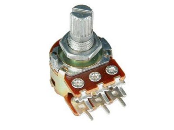 Потенциометр 5KB*2 исп.2 RV16A01F-20-15K-B5K-3 {R167} Металлический, вал 15 мм с накаткой и шлицем,