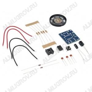 Радиоконструктор Звонок на таймере NE555P Печатная плата; Динамик 8 Ом, 0.25 Вт; Конденсаторы; Резисторы; Кнопка; Микросхема-таймер NE555P; Соединительные провода