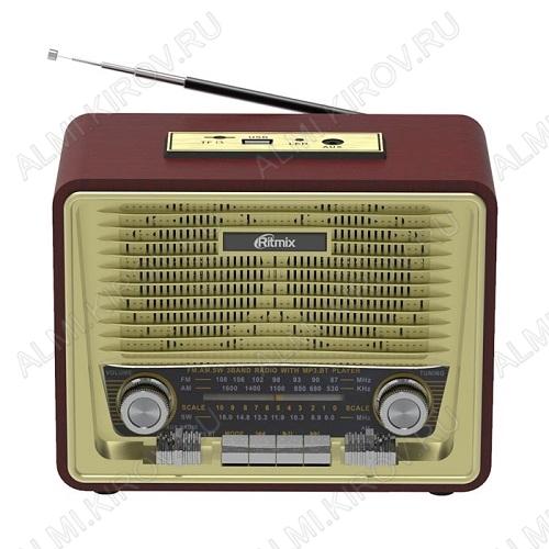Радиоприемник RPR-088 GOLD УКВ 87,0-108.0МГц; разъем USB, SD; Питание от встр. аккумулятора, 4xR20/220В